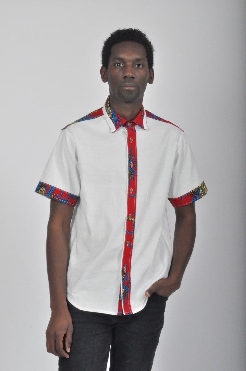 Chemise boutonnée Duo Coton:Wax fin 1:5_by fistyle